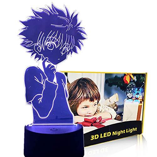 Anime 3D Hunter Figure Night Light for Kids Child Bedroom Home Decor Lamp Hisoka/Killua/Zoldyck LED Nightlight Christmas Birthday Gift (Huntetr- Killua)