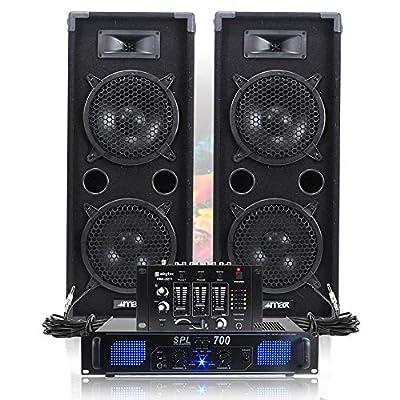 "2x Max 2 x 8"" Speakers Power Amplifier Mixer Bedroom DJ Disco PA Party 1600W"