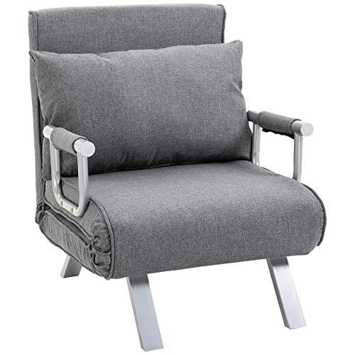 HOMCOM Fauteuil chauffeuse canapé-lit Convertible 1 Place déhoussable Grand Confort Coussin Pieds accoudoirs métal Lin Gris Clair