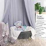 Minetom Betthimmel für Kinder Baby Baldachin Spielzimmer Fotografieren rund Höhe 240cm Prinzessin Chiffon hängende Moskitonnetz für Schlafzimmer Dekoration für Bett und Schlafzimmer (Grau) - 4