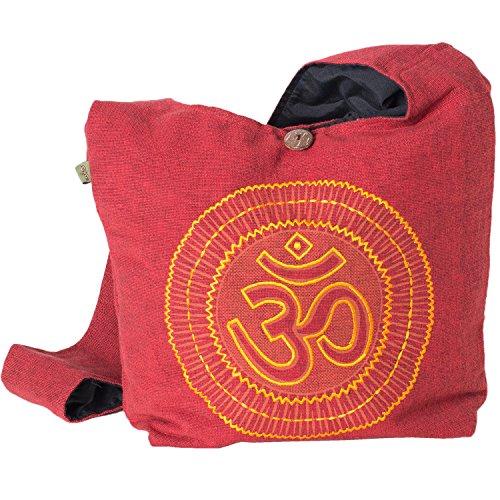 Vishes - Yogi Beuteltasche aus Baumwolle mit aufgesticktem Om Zeichen dunkelrot