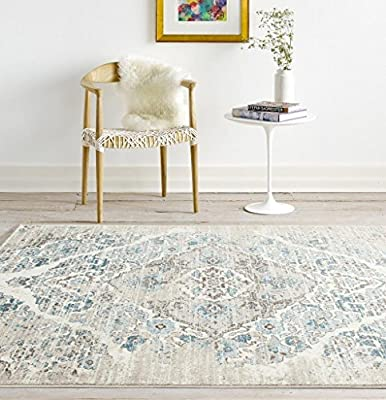 Soft Cream and Blue Persian Large Rug