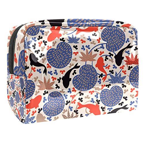 Bolsa de maquillaje de PVC para mujer y niña, organizador de artículos de tocador cosméticos, bolsa de 17 x 7 x 5 cm, peces y hojas de loto en el estanque, Color1, 18.5x7.5x13cm/7.3x3x5.1in, Neceser