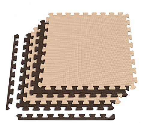 Hop-Sport Bodenschutzmatte HS-A010PM Puzzlematte Unterlegmatte Größe 60 x 60 x 1 cm rutschfest, Wasserabweisend & Erweiterbar (Braun/Beige 4Stk.)