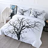 BlessLiving Dry Branch Duvet Cover Tree Branch Art Nature Bedding Full Size 3 Piece Hippie Bohemian Black and White Comforter Cover Bedspread Quilt Covers Tree Home Decor