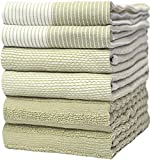 """Premium Kitchen Towels (20""""x 28"""", 6 Pack) – Large Cotton Kitchen Hand Towels – Flat & Terry Towel – Highly Absorbent Tea Towels Set with Hanging Loop (Sage Green)"""