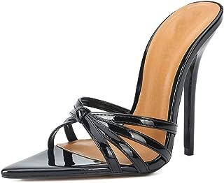 Vrouwen stiletto sandalen, grote maat open teen hak 13cm HighCross met puntige teen hoge hak slippers antislip Slijtvast e...