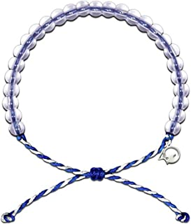 Bracelet with Charm Made from 100% Recycled Material Upcycled Jewelry (Blue/White)