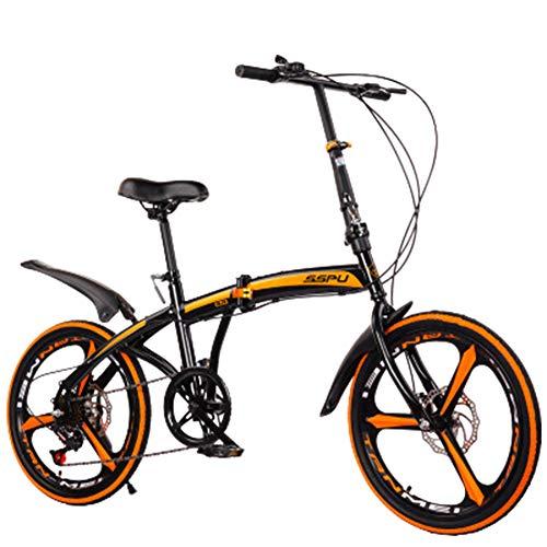Acero altamente carbono Bicicleta de montaña plegable de 20 pulgadas Frenos mecánicos de disco 7 velocidades engranajes de velocidad de bicicleta Suspensión completa MTB Bicicletas,Negro