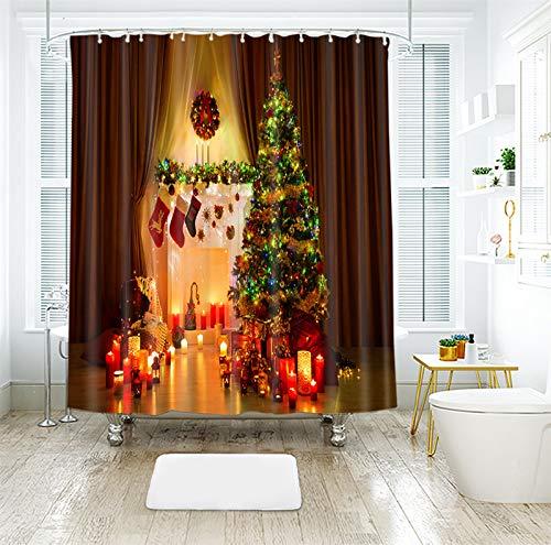 AJ WALLPAPER 3D Navidad Romántica 016 cortina de ducha impermeable fibra resistente al agua baño ventanas inodoro Reino Unido Zoe (tamaño personalizado (eBay message us))