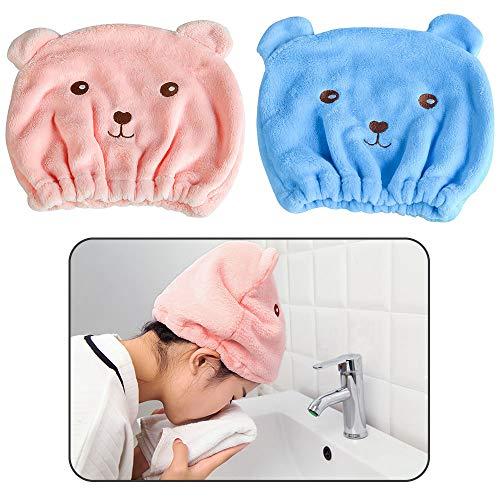 Creativee Toalla de microfibra absorbente de agua para el cabello, linda gorra turbante de cabello seco, gorro de baño de secado rápido para mujeres, adultos o niños niñas (paquete de 2)