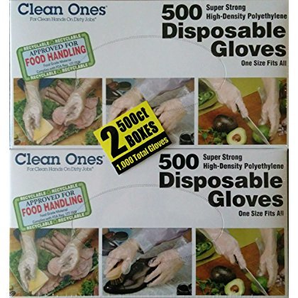 Clean Ones 513017 1000 Count Disposable Poly Gloves (2 boxes with 500 units each)