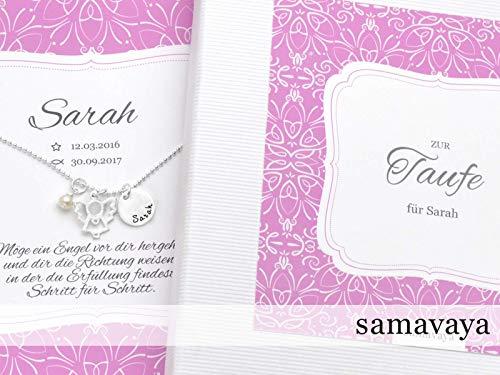 Taufkette Mädchen Taufgeschenk Taufschmuck MEIN SCHUTZENGEL 925 Silberkette mit Gravur Engel Perle