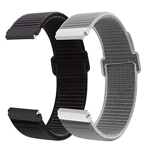 Younsea Correa de Reloj de Nailon 20mm para Galaxy Watch Active 2/Active 40mm 42mm, Correa para Gear S2 Classic/Sport/Galaxy Watch 3 41mm/Vivomover HR/Vivomove/Watch2 Pro/Moto 360 2nd Gen Men's 42mm