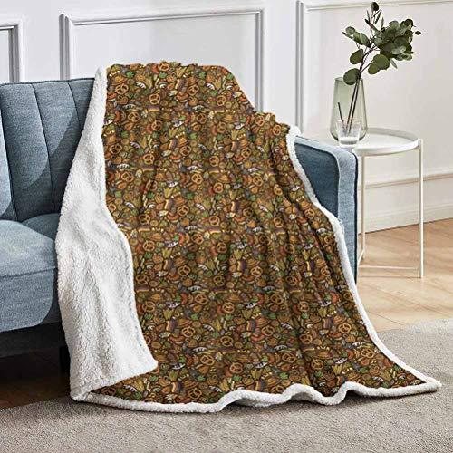 YUAZHOQI - Manta de forro polar, diseño de dibujos animados con bandera de lúpulo y pretzels dibujados a mano, manta para novia, mejor amiga, 127 x 152 cm, multicolor