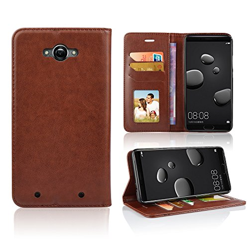 for Motorola Droid Turbo XT1254 Case Phone Case Wallet Grip Textured Kickstand Hybrid Pouch Pocket Purse Screen Flip Cover (Brown)