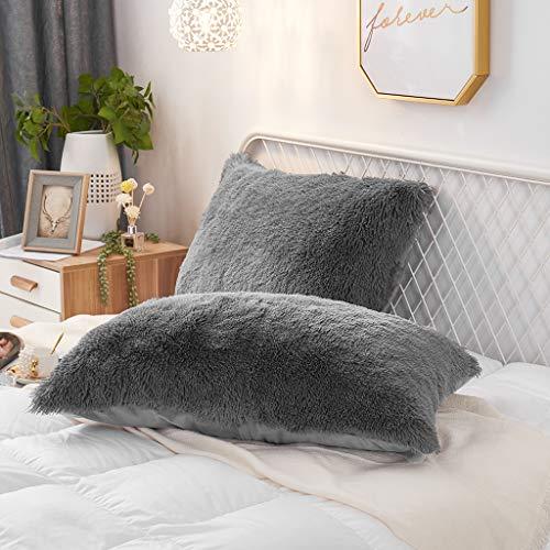 Uhamho Set of 2 Faux Fur Throw Pillow Covers Soft Velvet Decorative Pillowcases Zipper Closure (Dark Gray, 20'x26')
