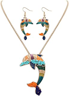 VWH Dophin Shape Pendant Necklace Chain with Earring set for women Girls