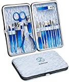 Manicure Set,pedicure Kit,Nail Clippers, Professional Grooming Kit, Nail File Tools 16 in 1 with Blue Travel Case Tools For Men and Women 2021 Upgraded Christmas Gift