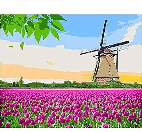 Houten puzzel speelgoed,Educatief speelgoed Klassieke puzzels Mode Volwassen Hollandse molen Tulp Landschap DIY Verzamelobjecten Modern Woondecoratie Uniek -1500_stukken