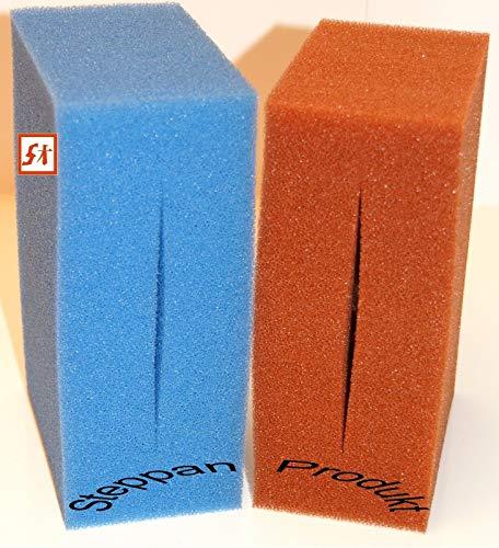 Steppan 16 Filterschwämme 8 x BLAU und 8 x ROT geschlitzt für Biotec 12 + 12 Screenmatic 21,5 x 10 x 9 cm BLAU Grob = PPI 10 ROT Fein = PPI 30