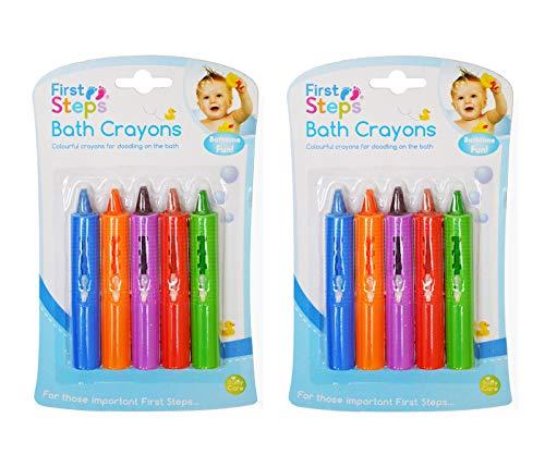 First Steps Lot de 10 Crayons de Bain non Toxiques pour Bébé