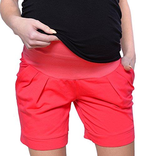 Mija Kurze Umstandsshorts/Umstandshose mit Bauchband für Sommer 1047 (EU38 / M, Rot)