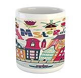 Ambesonne - Tazza olandese, stile cartone animato Amsterdam, illustrazione architettonica con città e alberi colorati, tazza da caffè in ceramica per bevande acqua, tè e fard pastello