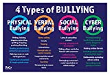 Safety Magnets 4 Types of Bullying Poster - Bullying Posters for Schools and Workplace - Anti Bullying Posters - No Bullying Poster for Classroom - Laminated - 12 x 18 Inches (1)