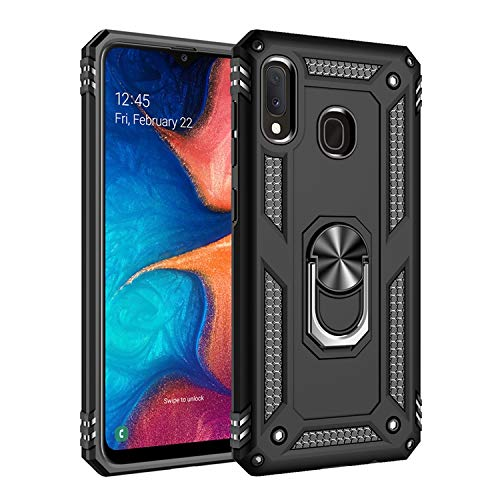 Max Power Digital Funda para móvil Samsung Galaxy A20e Anillo Giratorio 360 Metálico Imán Magnético Carcasa Rígida Antigolpes Resistente Soporte Bumper Case (Samsung Galaxy A20e, Negro)