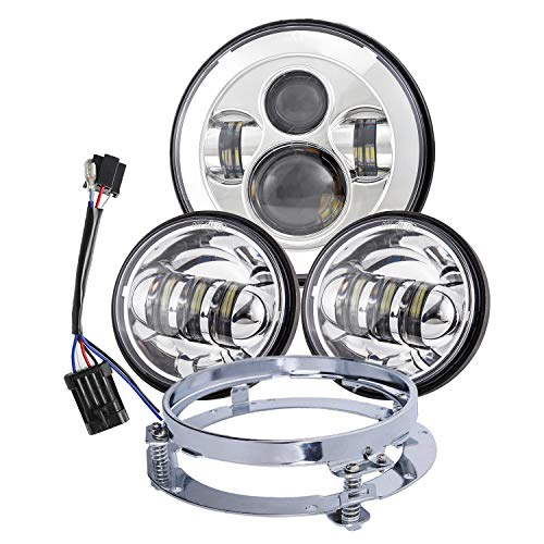 Dot Appoved Chrome 7inch LED Headlight with 4.5inch Matching Chrome Passing Lamps for Harley Motorcycles with Adapter Ring and wire...