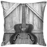 N/A 18 X18 en Guitarra acústica de Instrumento Vintage colgada en Vallas de Puerta de Madera Vieja Funda de Almohada Country Ranch, Funda de Almohada para Coche de Patio