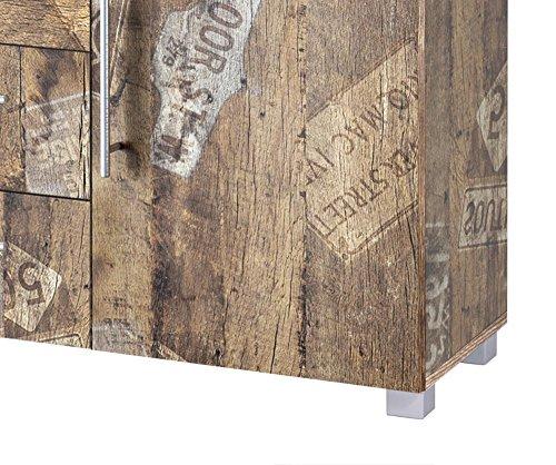 Kommode, Anrichte, Sideboard, Schubkastenkommode, Schubladenkommode Panamaeiche, Vitage, B/H/T ca. 127/83/35 cm - 3