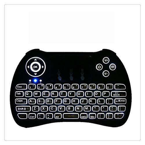WNDRZ Mini Teclado Retroiluminado 2.4GHz Juego Inalámbrico Fly Air Mouse con RGB Rainbow LED Backlight Touchpad para Android Smart TV Box (Color : White Backlit)