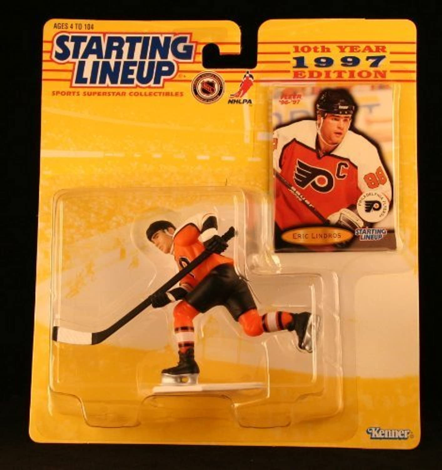 ERIC LINDROS   PHILADELPHIA FLYERS 1997 NHL Starting Lineup Action Figure & Exclusive NHL FLEER '96 '97 Collector Trading Card by Kenner