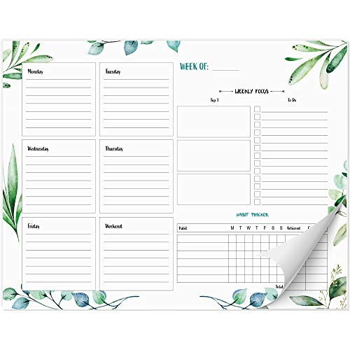 Beautiful Greenery Weekly Planner Pad and Habit Tracker - Easy Use to Do List 8x10