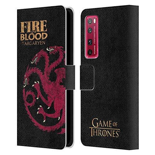 Head Case Designs Licenciado Oficialmente HBO Game of Thrones Targaryen Lemas de La Casa Carcasa de Cuero Tipo Libro Compatible con Huawei Nova 7 Pro 5G