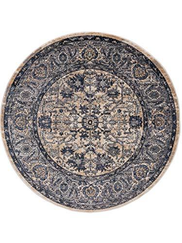 benuta CLASSIC Alfombra Redonda de Pelo Corto Sinan, Azul Oscuro, diámetro de 160 cm, Redonda, Moderna Alfombra para salón