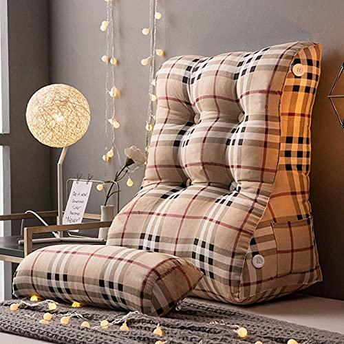 TGFVGHB Almohada suave de lectura, almohada de lectura, almohada de lectura para sentarse en la cama, cojín de apoyo de lectura con almohada ajustable para el cuello, K (color: J-55 cm)