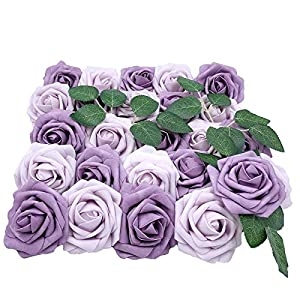 Lmeison Artificial Flowers African Violet Purple Rose, 50pcs Real Looking Artificial Roses w/Stem for Bridal Wedding Bouquets Centerpieces Baby Shower DIY Party Home Decor