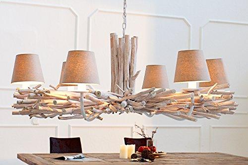 *Hängelampe Esstisch Wohnzimmer Designerleuchte aus echtem Treibholz Ø110cm 6 Arme Schirm Kronleuchter Lüster*