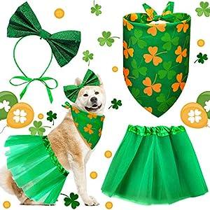 Weewooday 3 Pieces St. Patrick's Day Dog Costume Girls Doggie St Patricks Day Tutu Skirt Bowtie Headband Dog Bandana Pet Scarf Kit for Pet Dog Puppy at St. Patrick's Day