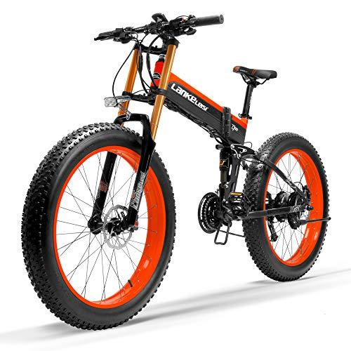 LANKELEISI T750Plus 27 Vitesses 26 * 4.0 Fat Bike, vélo électrique Pliant 1000W 48V 10Ah, Batterie au Lithium cachée, Suspension complète de vélo de Neige (Noir Rouge, 1000W Standard)