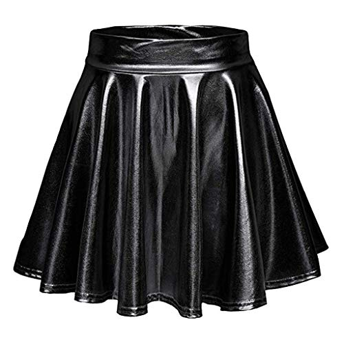 Damen Faltenrock Mingfa Metall Fold Mini Rock Basic Flared Rock Fashion Bright Solid A-Line Elastic Hight Taille Hosenträger Rock Kleid für Mädchen XL Schwarz
