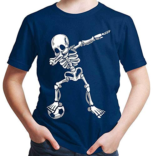 HARIZ Jungen T-Shirt Dab Skelett mit Fussball Dab Dabbing Dance Halloween Plus Geschenkkarten Navy Blau 164/14-15 Jahre