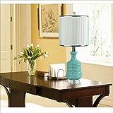 Wuyuana Luz de Techo Lámparas De Mesa Duraderas Lámparas De Escritorio Moderno Azul Cerámica Lámpara De Mesa Lámpara De Mesa Tibia De Tela Caliente Lámparas