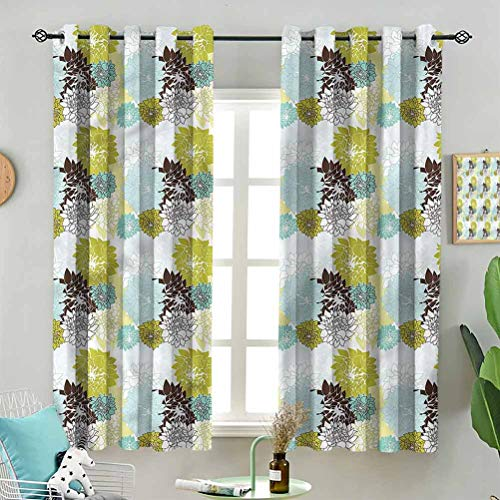 Blackout Window Curtain Pastel Wildflower Leaves W72 x L96 Inch (2 Panels) for Indoor Living Dining Room Bedroom