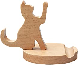 Cute Cat Cell Phone Stand, MHKBD Wooden Phone Stand Cell Phone Holder Desktop Cellphone Stand Universal Desk Stand for All Smart Phone Desk Decoration, Great Gift for Thanksgiving Day and Christmas