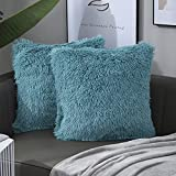 Nanhiking Decorative Faux Fur Throw Pillow Covers Luxury Soft Cushion Cover Square Throw Pillow for Coach Bed Sofa Car Office,2 Pack 18×18Inch Teal Blue