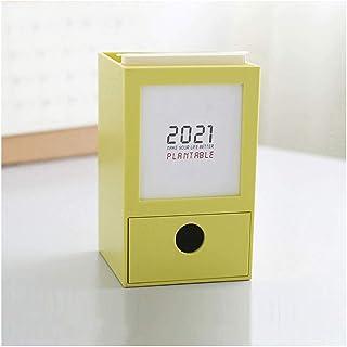 カレンダー2021年 2021カレンダーシンプルなデスクカレンダー、ペンホルダー収納ボックス/繊細な小型引き出し、家やオフィスに適しています。 ZSMMFDB (Color : Yellow)